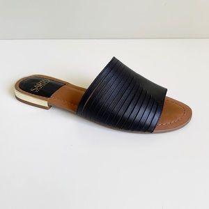 Franco Sarto Amani Black Leather Flat Slide Sandal